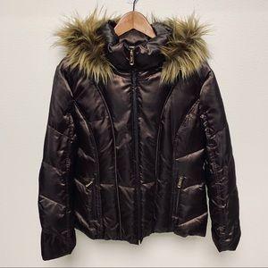 Calvin Klein Down Fur Trim Hooded Puffer Coat XL
